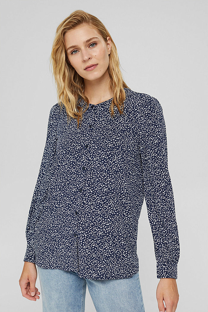 Blusa con stampa leopardata in LENZING™ ECOVERO™, NAVY, detail image number 0