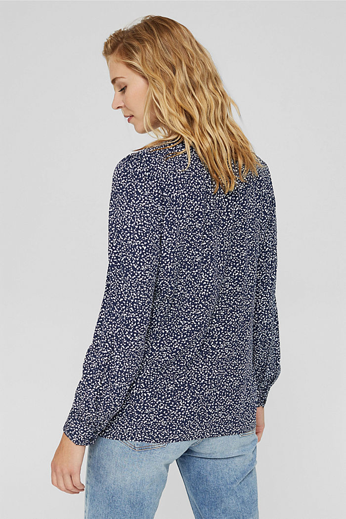 Blusa con stampa leopardata in LENZING™ ECOVERO™, NAVY, detail image number 3