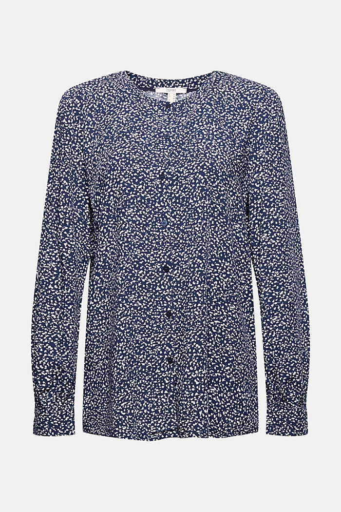 Blusa con stampa leopardata in LENZING™ ECOVERO™, NAVY, detail image number 5