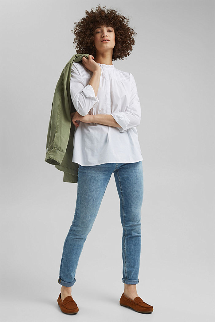 Organic cotton blouse, WHITE, detail image number 7