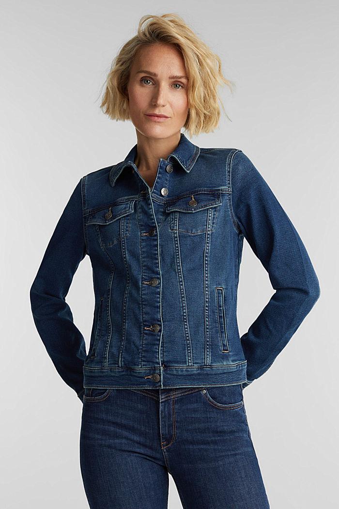 Denim jacket in soft denim tracksuit fabric, BLUE DARK WASHED, detail image number 0
