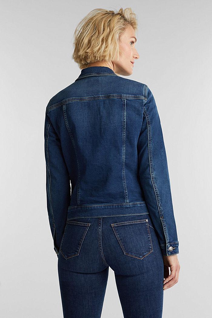 Denim jacket in soft denim tracksuit fabric, BLUE DARK WASHED, detail image number 3