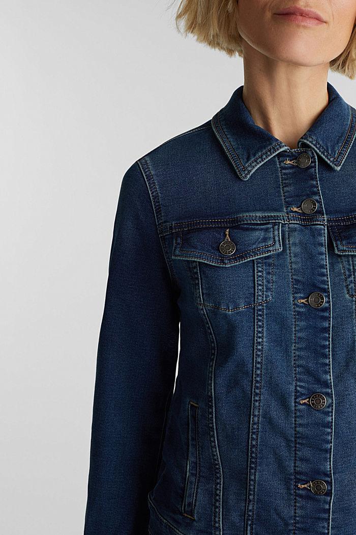 Denim jacket in soft denim tracksuit fabric, BLUE DARK WASHED, detail image number 2