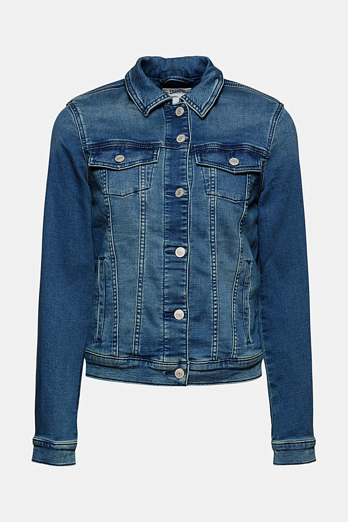 Denim jacket in soft denim tracksuit fabric