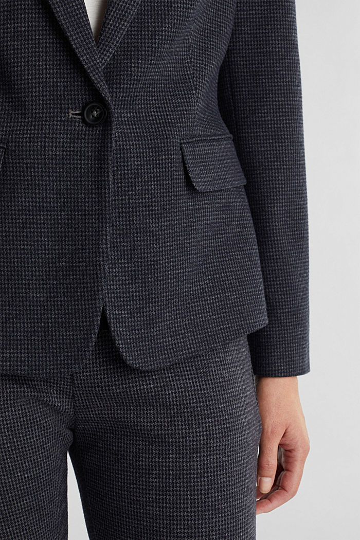 Fitted houndstooth blazer, GREY BLUE, detail image number 2