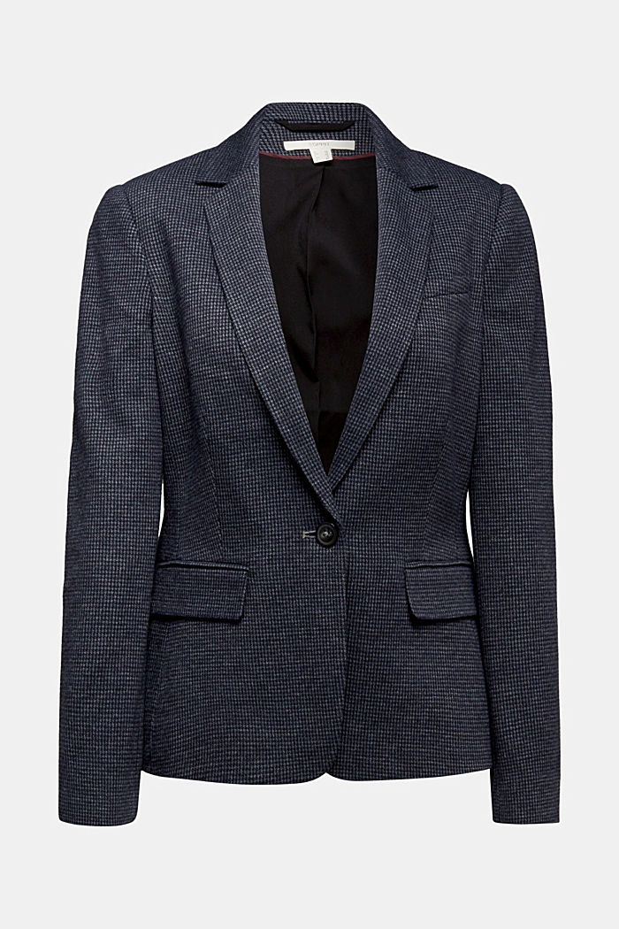 Fitted houndstooth blazer, GREY BLUE, overview