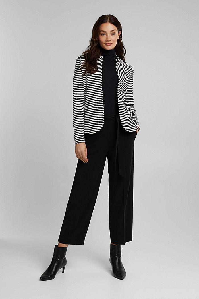 Textured blazer in organic cotton, NAVY, detail image number 1