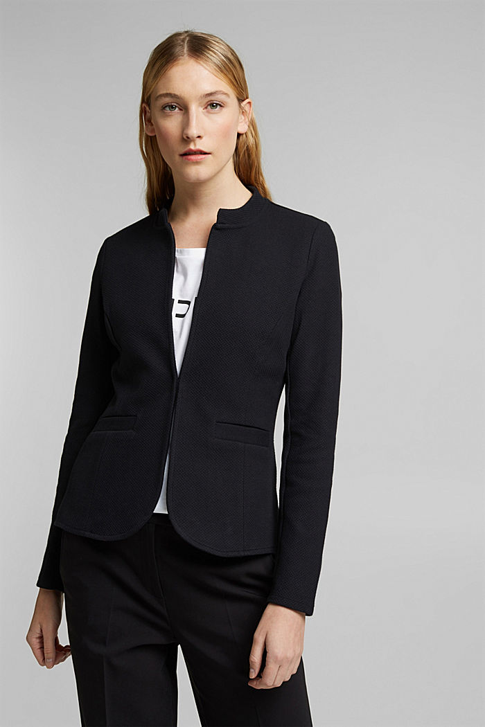 Fitted jersey blazer with texture, BLACK, detail image number 0