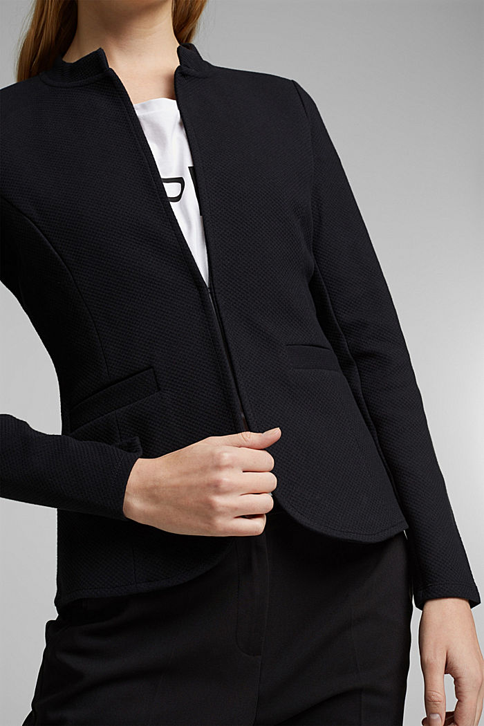 Fitted jersey blazer with texture, BLACK, detail image number 2