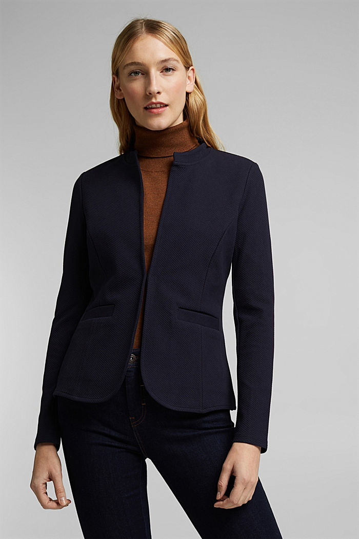 Fitted jersey blazer with texture, NAVY, detail image number 0