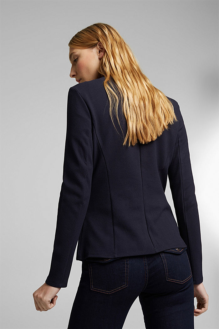 Fitted jersey blazer with texture, NAVY, detail image number 3