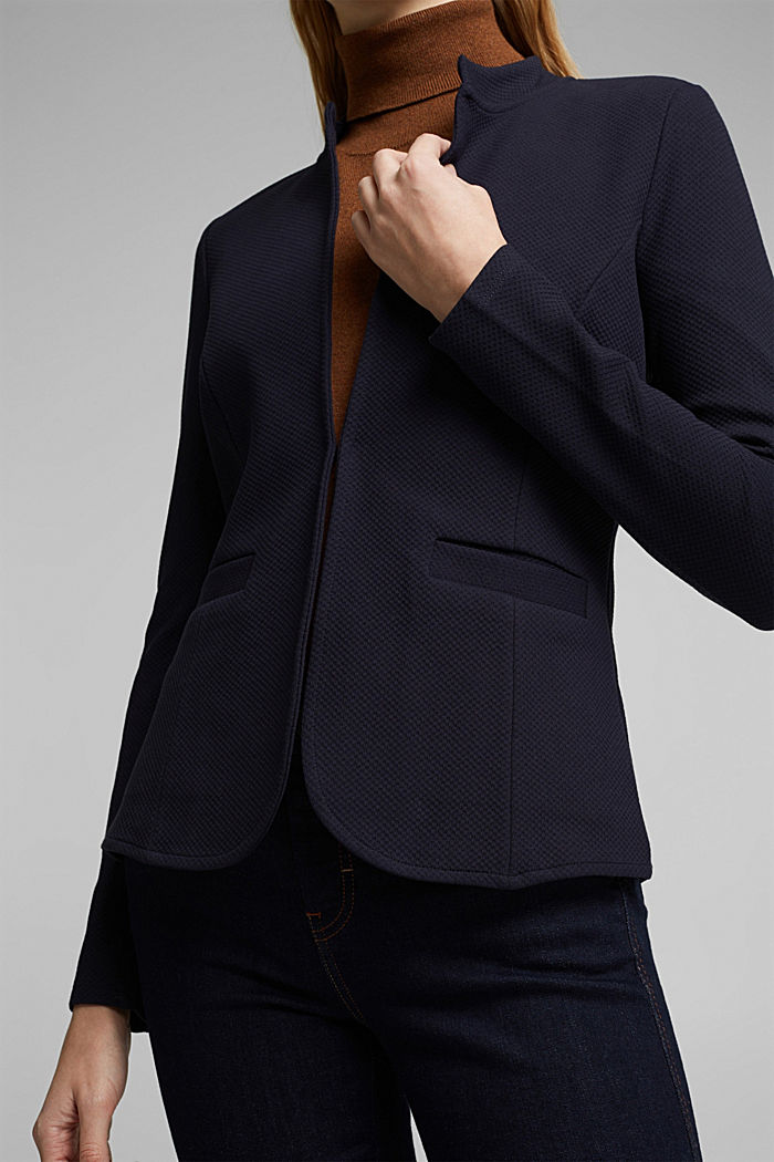 Fitted jersey blazer with texture, NAVY, detail image number 2