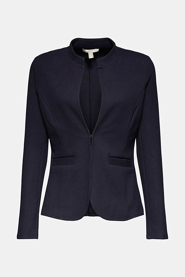 Fitted jersey blazer with texture, NAVY, detail image number 6