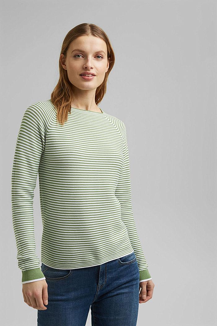 Crewneck jumper with 100% organic cotton, LEAF GREEN, detail image number 0