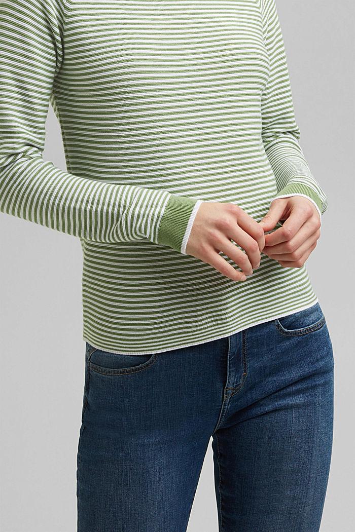 Crewneck jumper with 100% organic cotton, LEAF GREEN, detail image number 2
