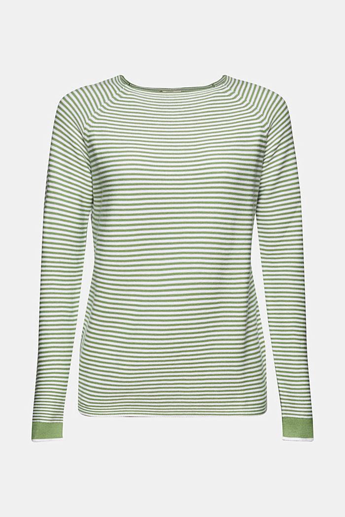 Crewneck jumper with 100% organic cotton, LEAF GREEN, detail image number 6