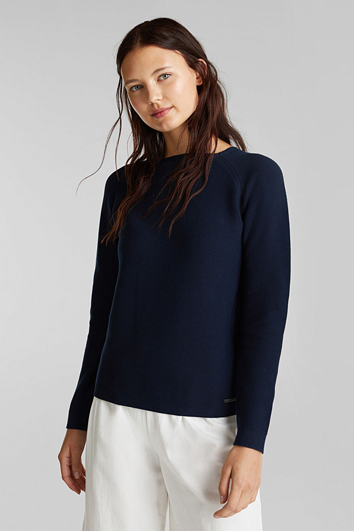 Pull-over rayé, 100% coton biologique, NAVY, detail image number 0
