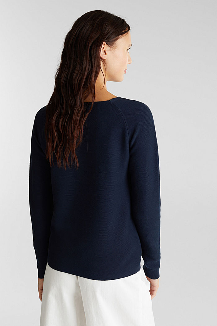 Pull-over rayé, 100% coton biologique, NAVY, detail image number 3