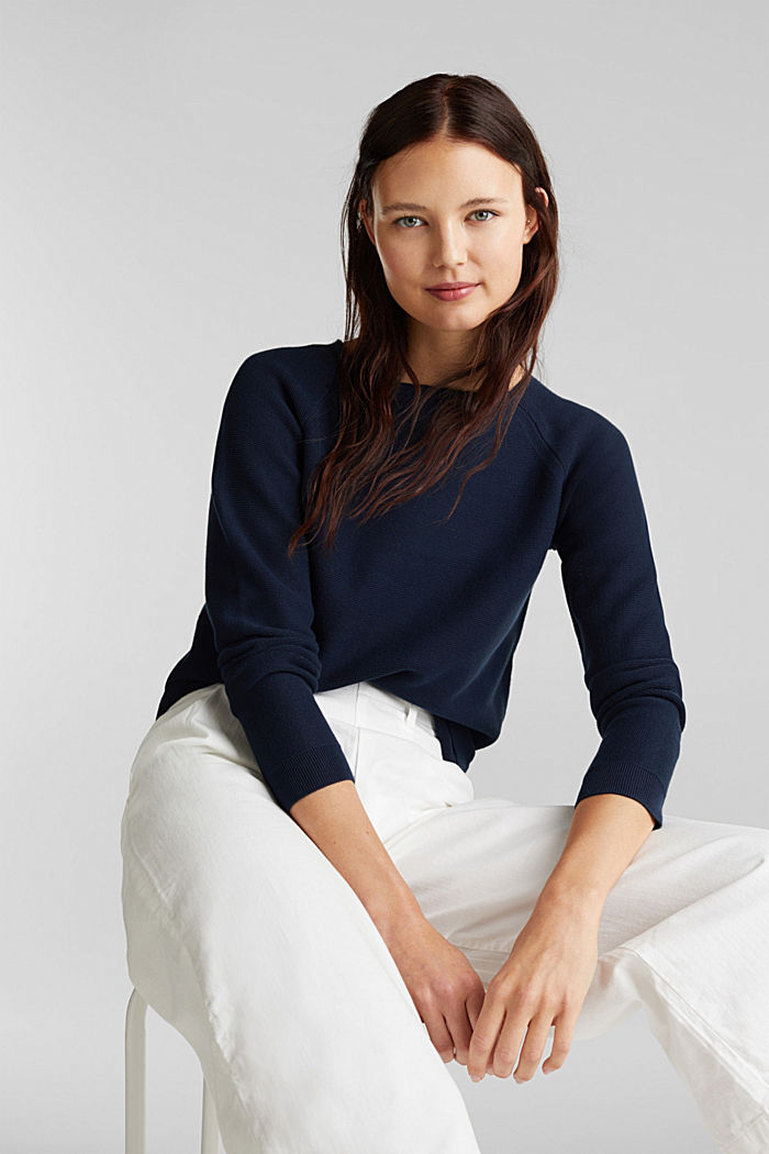 Pull-over rayé, 100% coton biologique, NAVY, detail image number 6