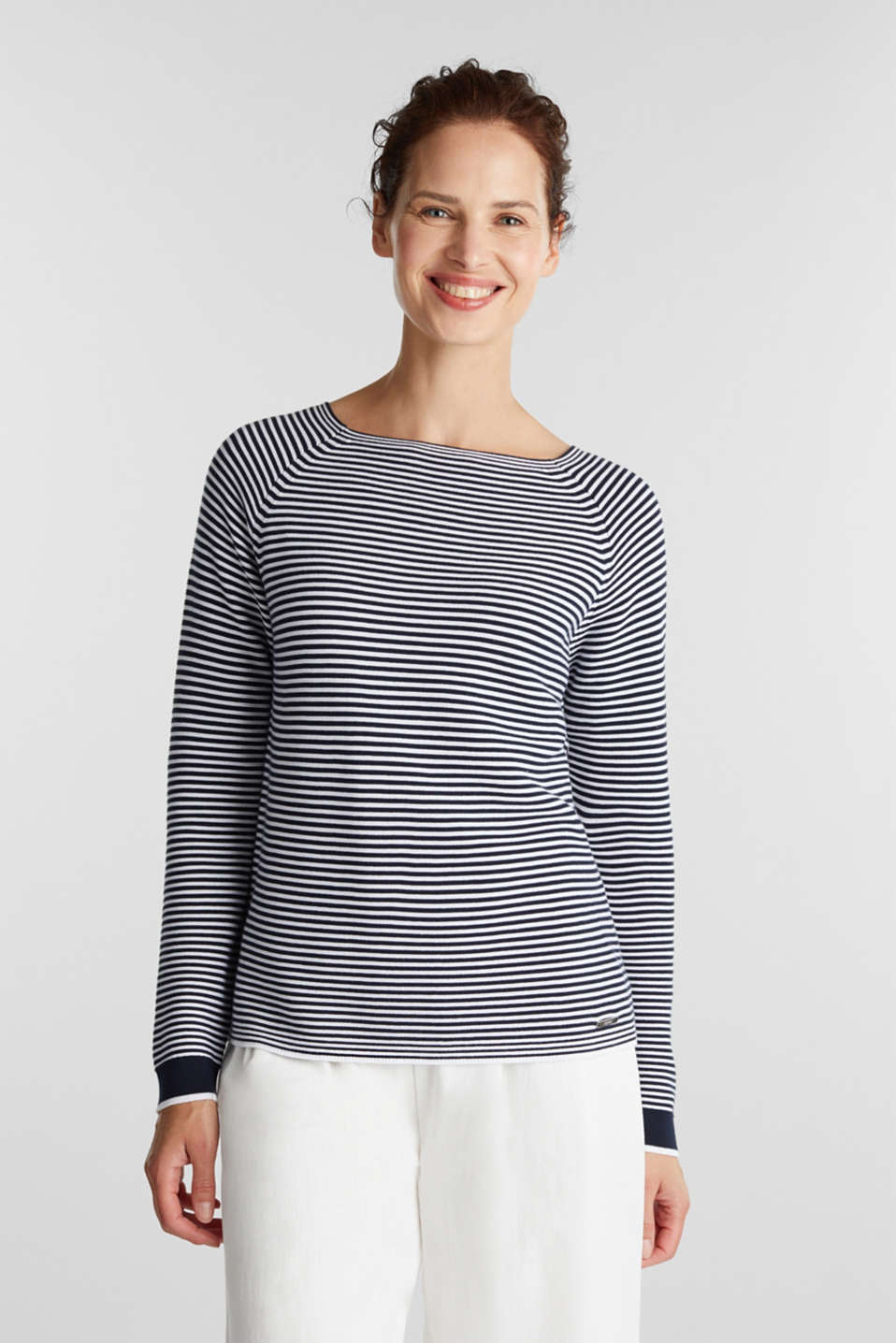 Striped jumper, 100% organic cotton, NAVY 2, detail image number 0