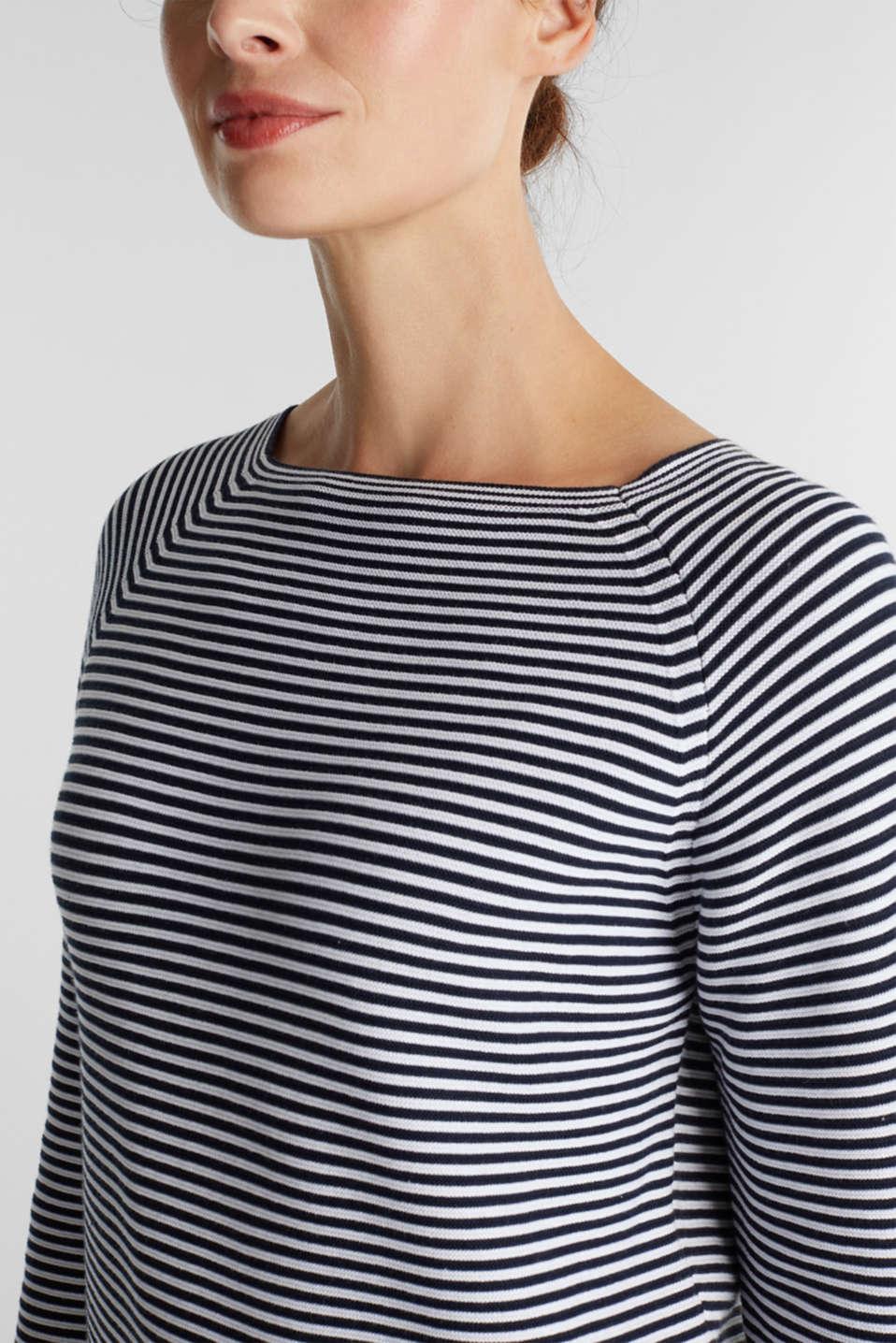 Striped jumper, 100% organic cotton, NAVY 2, detail image number 2