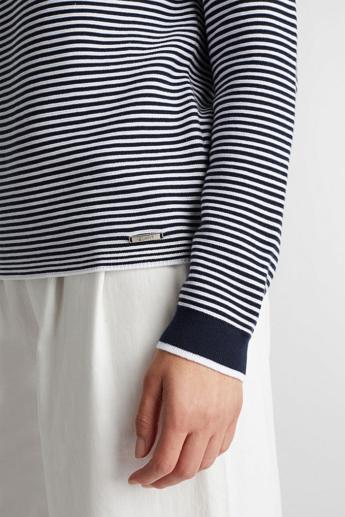 Crewneck jumper with 100% organic cotton, NAVY, detail image number 4