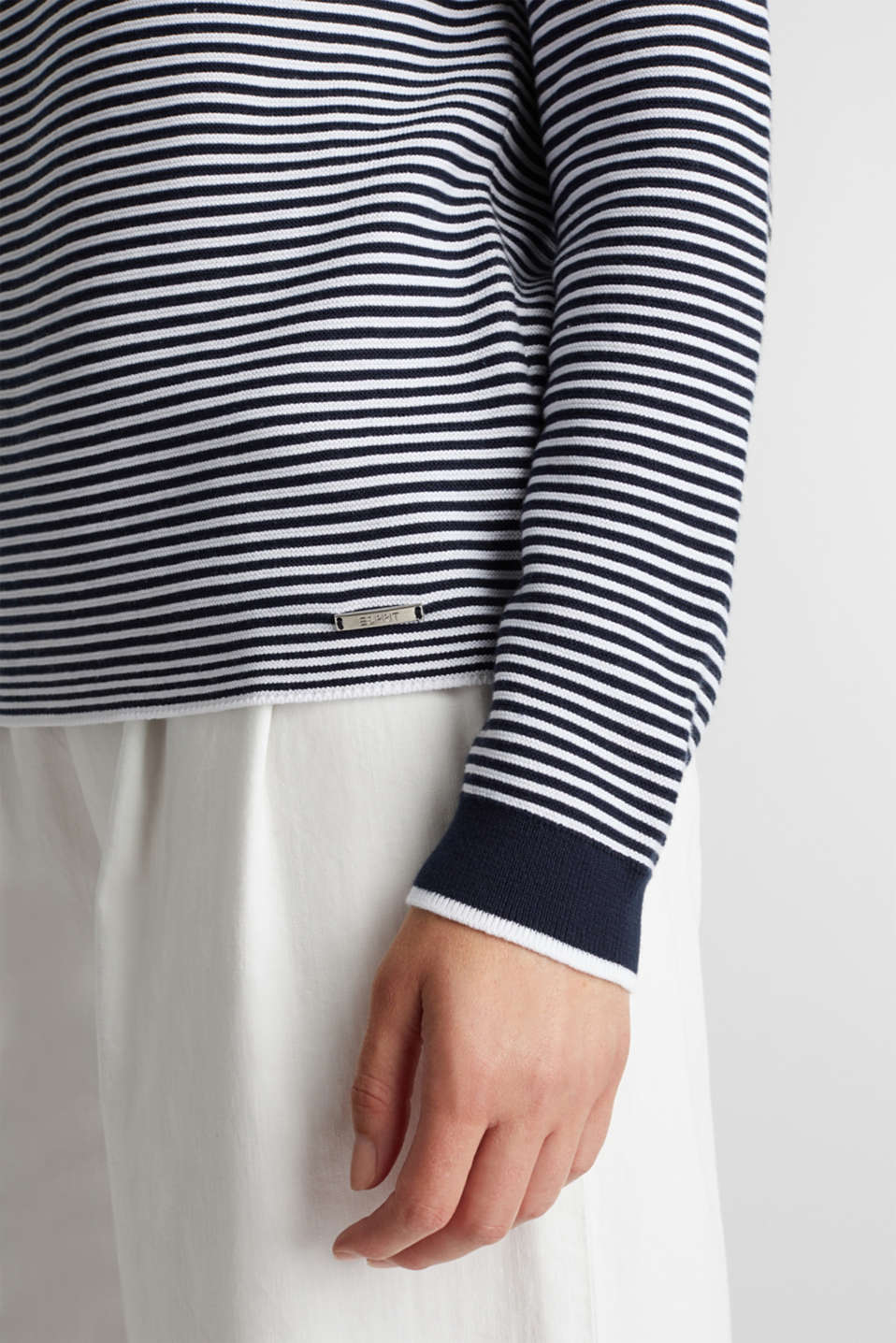 Striped jumper, 100% organic cotton, NAVY 2, detail image number 4