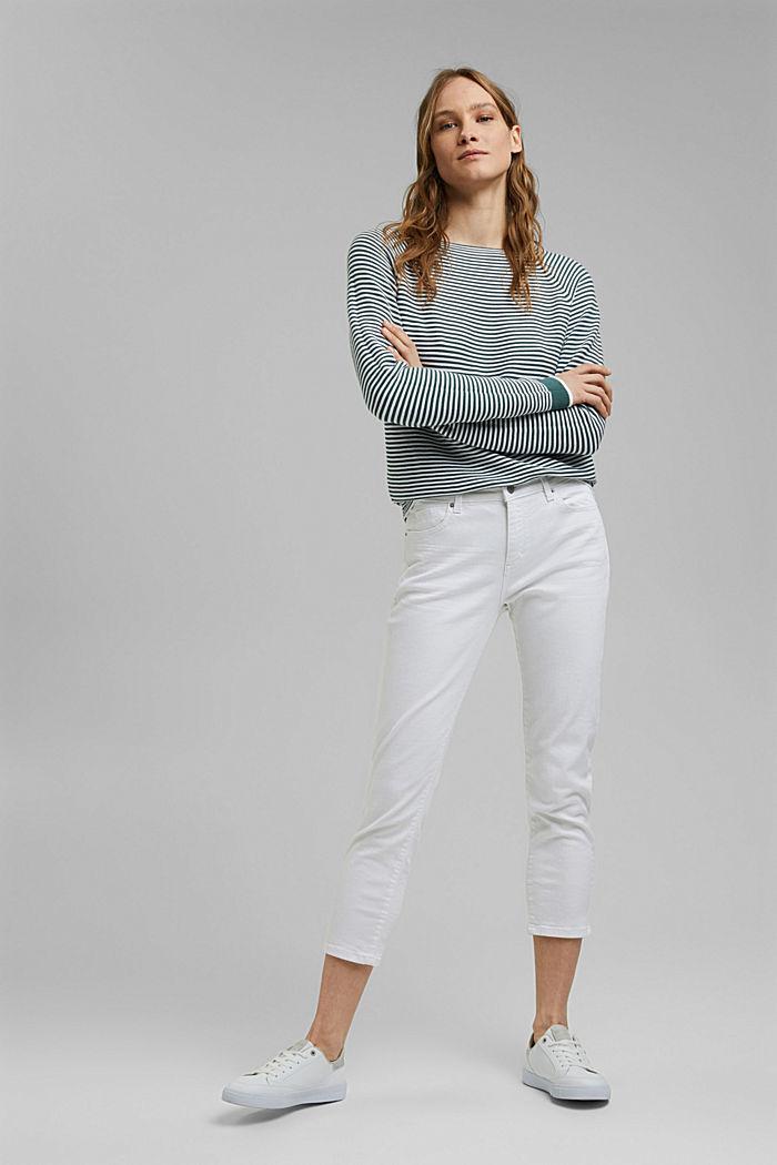 Striped jumper, 100% organic cotton, TEAL BLUE, detail image number 1