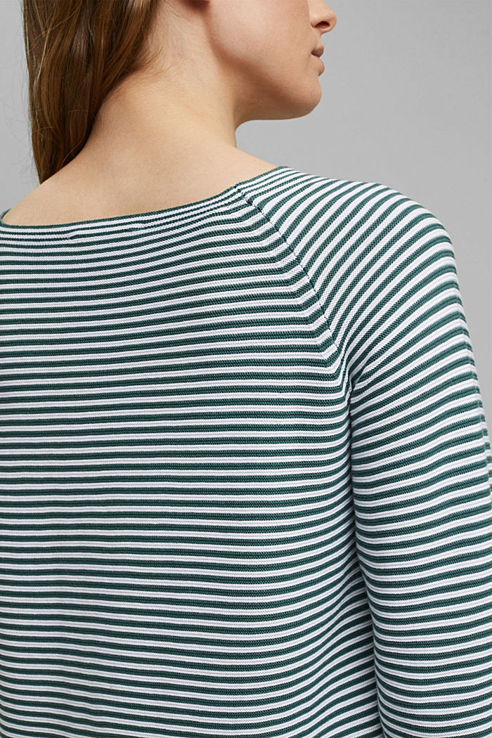 Striped jumper, 100% organic cotton, TEAL BLUE, detail image number 5