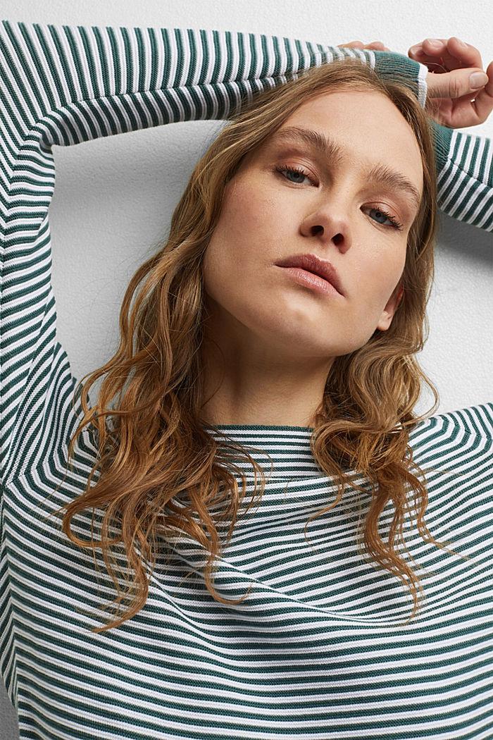 Striped jumper, 100% organic cotton, TEAL BLUE, detail image number 7