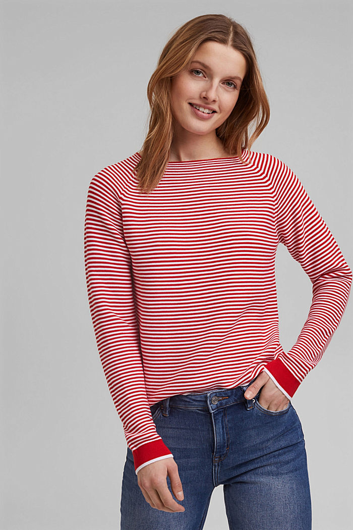 Crewneck jumper with 100% organic cotton, RED, detail image number 0