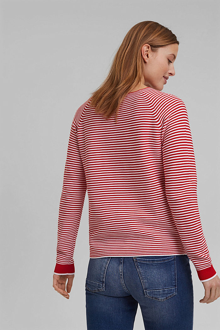 Crewneck jumper with 100% organic cotton, RED, detail image number 3