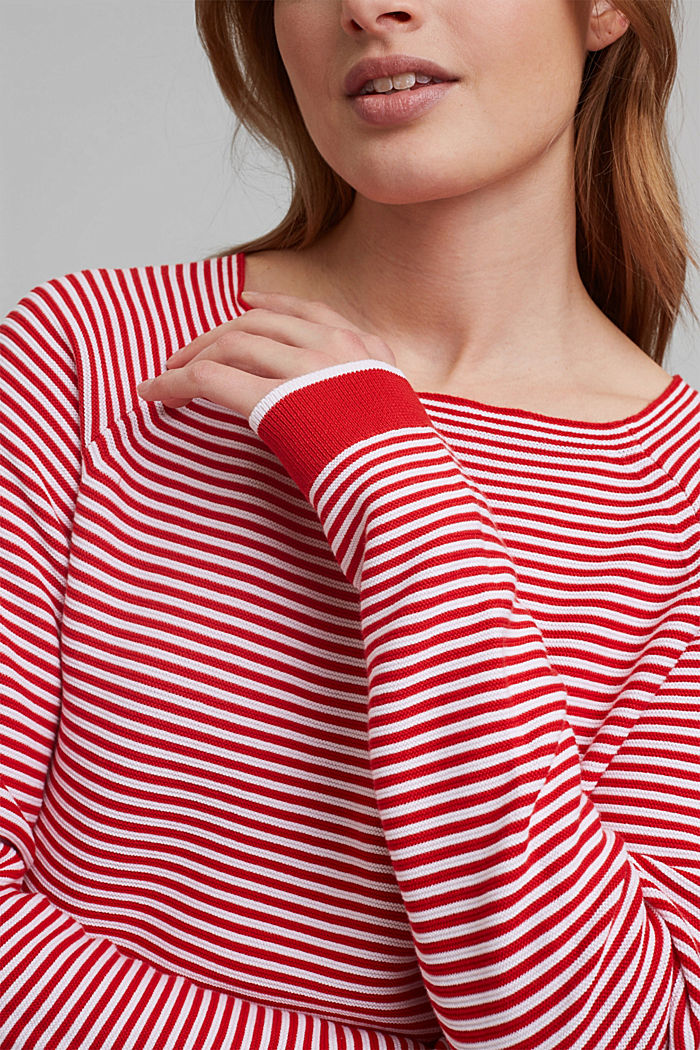 Crewneck jumper with 100% organic cotton, RED, detail image number 2