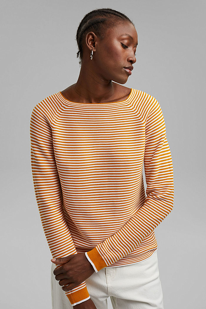 Pullover a righe, 100% cotone biologico, HONEY YELLOW, detail image number 0