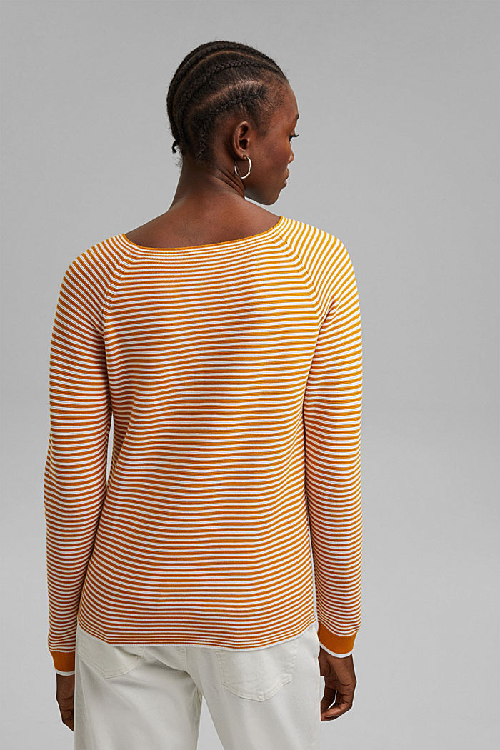 Pullover a righe, 100% cotone biologico, HONEY YELLOW, detail image number 3