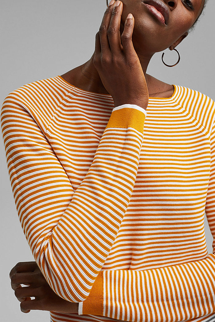 Pullover a righe, 100% cotone biologico, HONEY YELLOW, detail image number 2