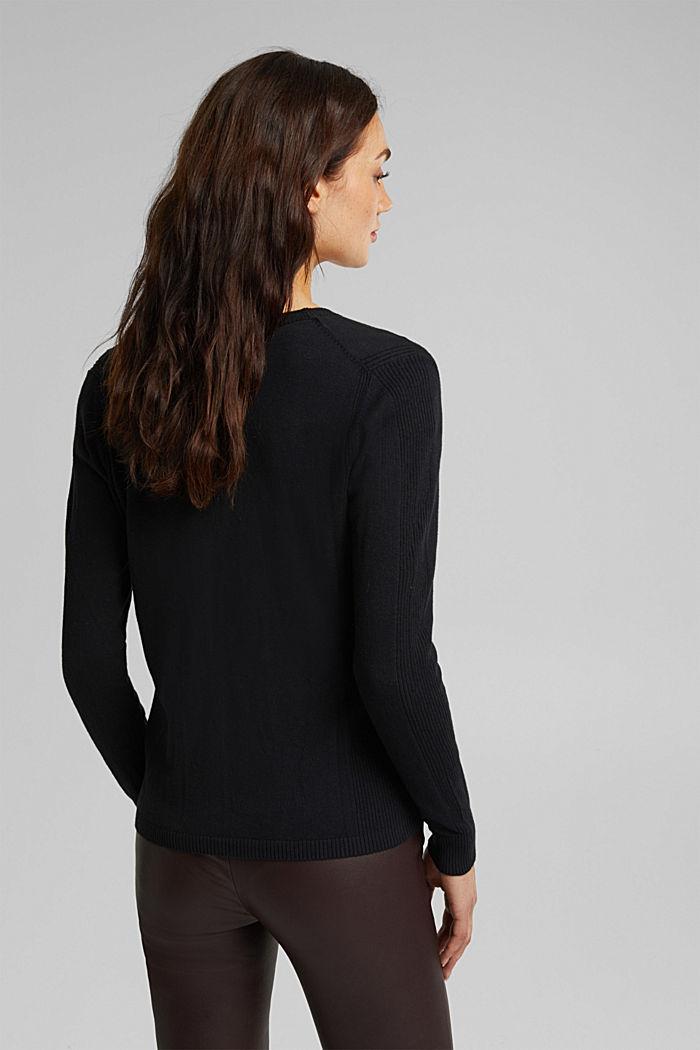 Basic V-neck cardigan with organic cotton, BLACK, detail image number 3