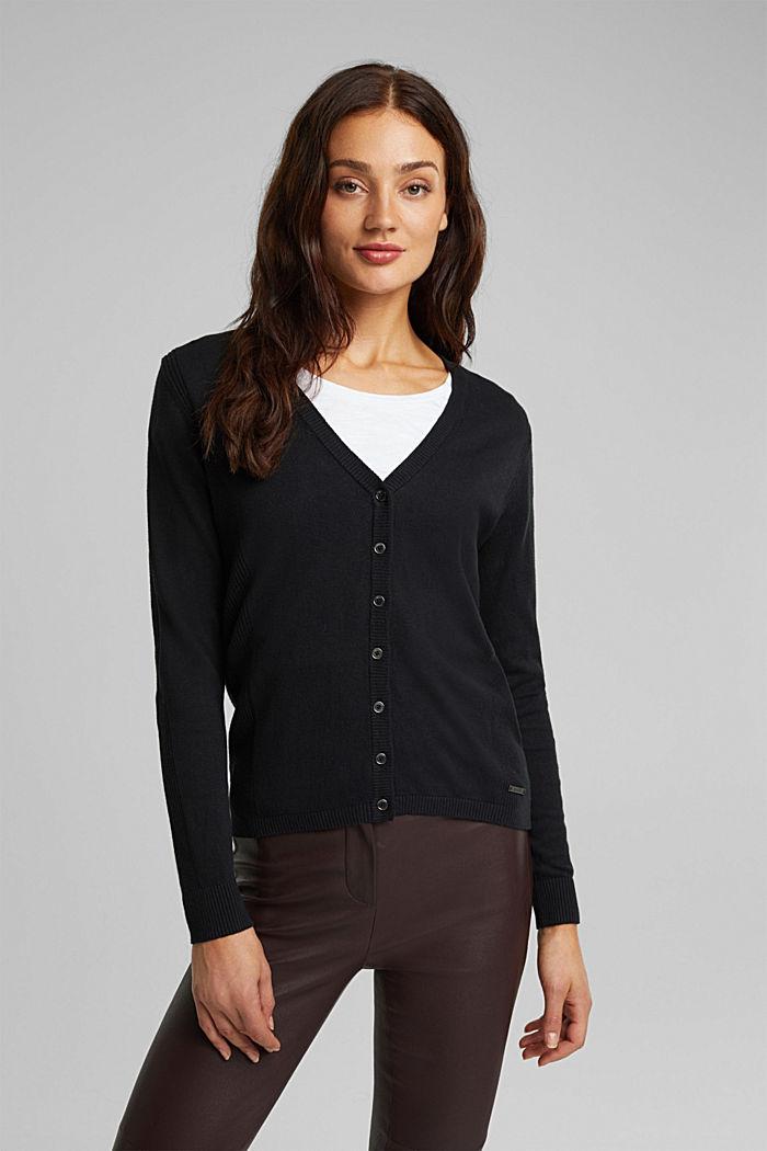 Basic V-neck cardigan with organic cotton, BLACK, detail image number 5