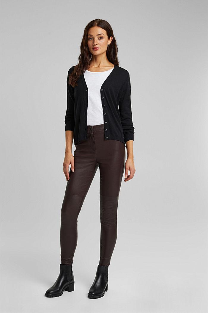 Basic V-neck cardigan with organic cotton, BLACK, detail image number 1