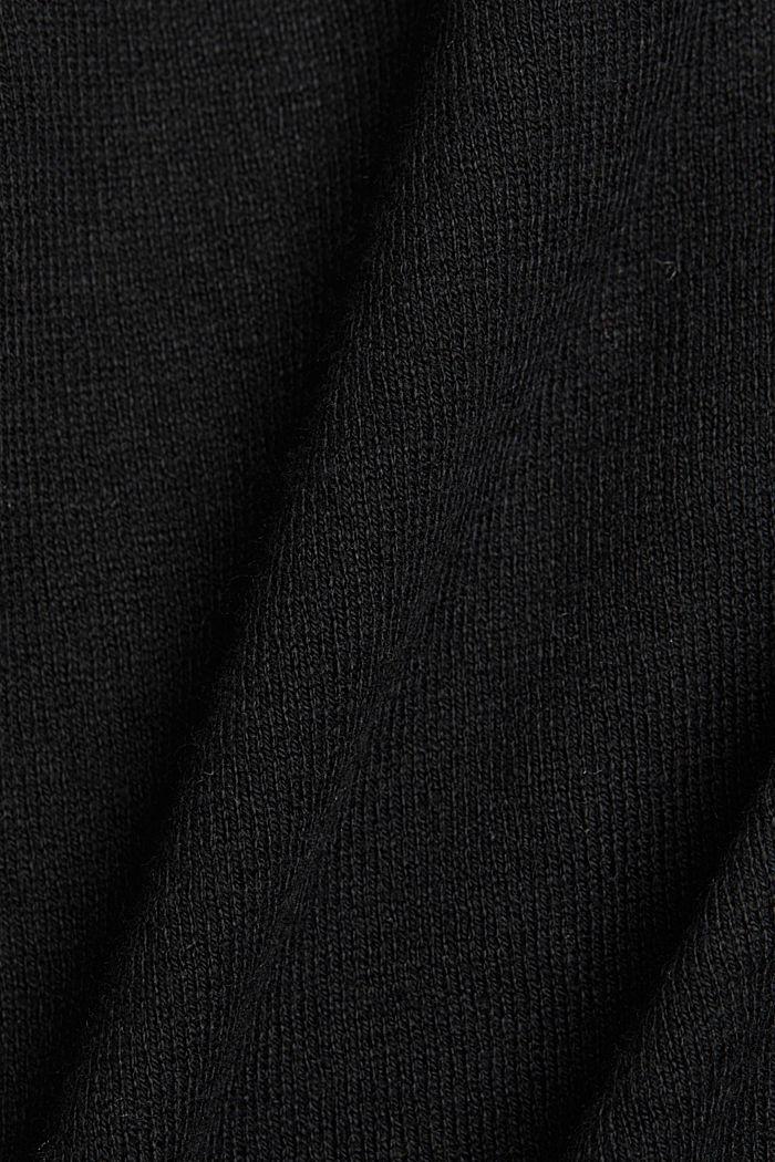 Basic V-neck cardigan with organic cotton, BLACK, detail image number 4