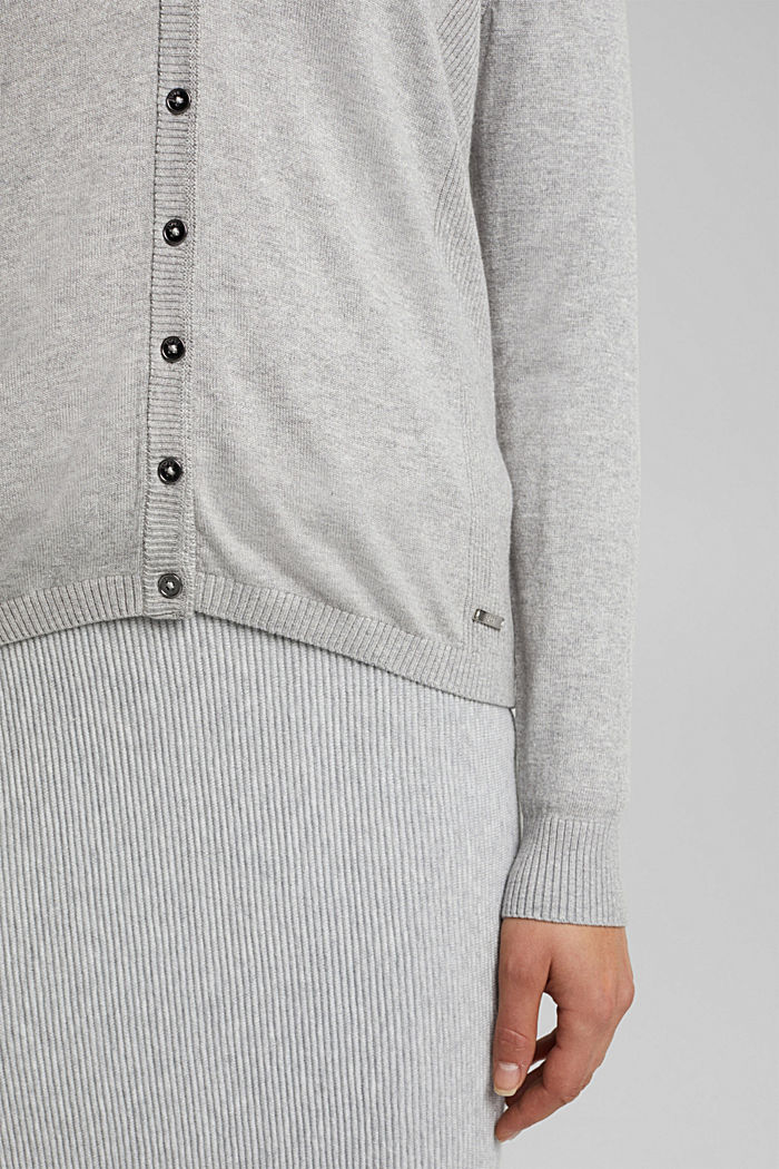 Basic V-neck cardigan with organic cotton, LIGHT GREY, detail image number 2