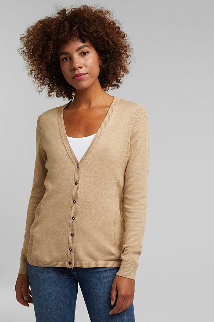 Basic V-neck cardigan with organic cotton, BEIGE, detail image number 0