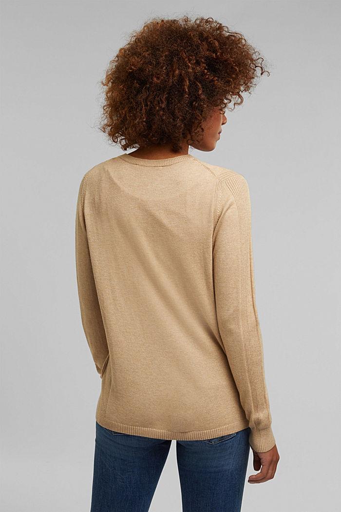 Basic V-neck cardigan with organic cotton, BEIGE, detail image number 3