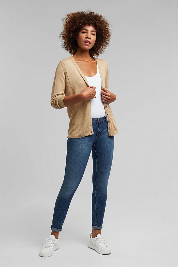 Basic V-neck cardigan with organic cotton, BEIGE, detail image number 1