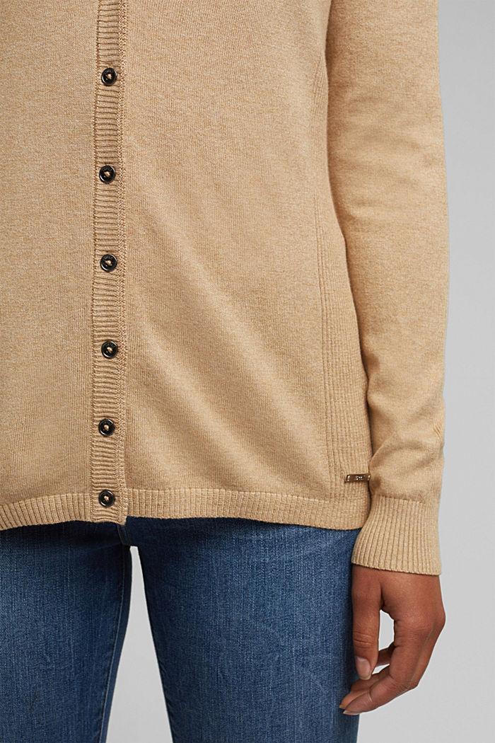 Basic V-neck cardigan with organic cotton, BEIGE, detail image number 2
