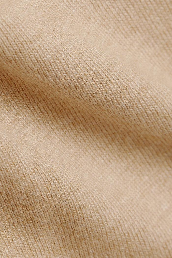 Basic V-neck cardigan with organic cotton, BEIGE, detail image number 4