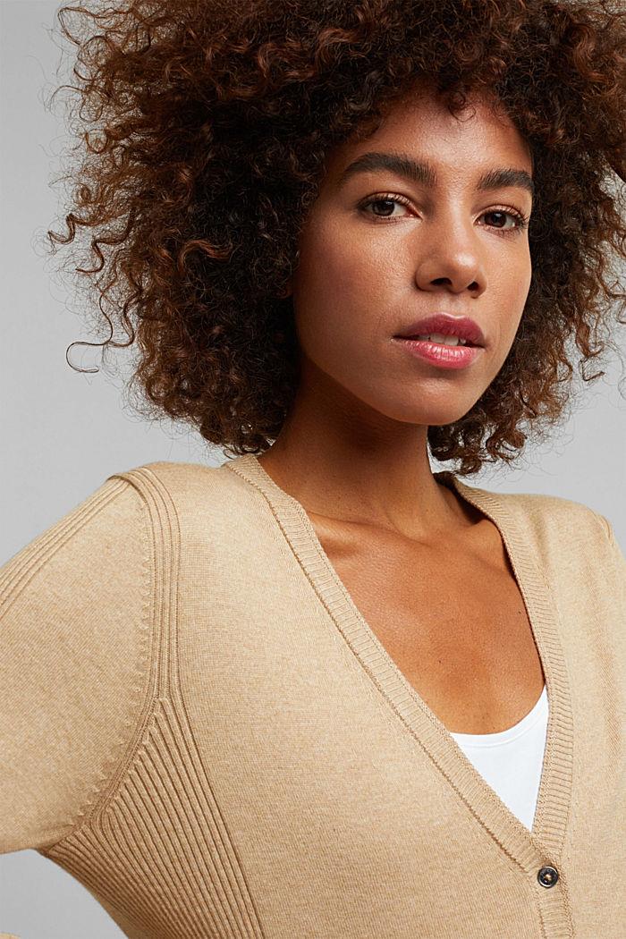 Basic V-neck cardigan with organic cotton, BEIGE, detail image number 5
