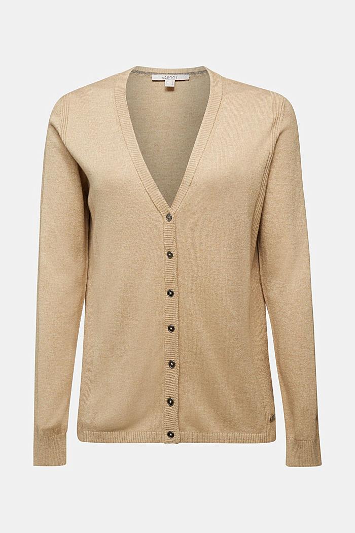 Basic V-neck cardigan with organic cotton, BEIGE, detail image number 6