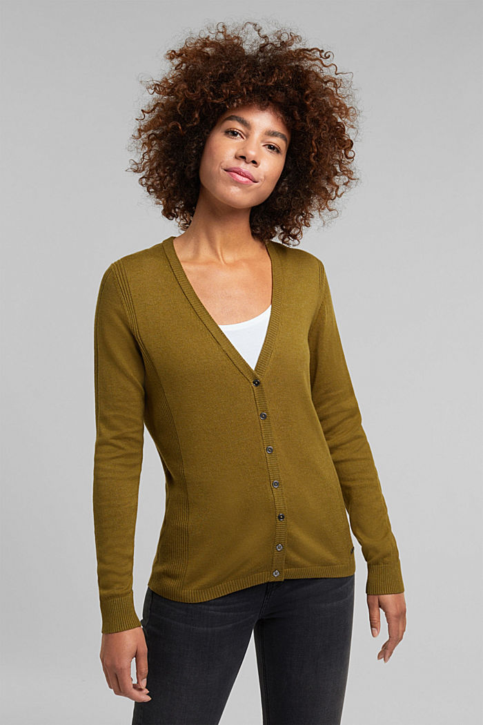 Basic V-neck cardigan with organic cotton, OLIVE, detail image number 0