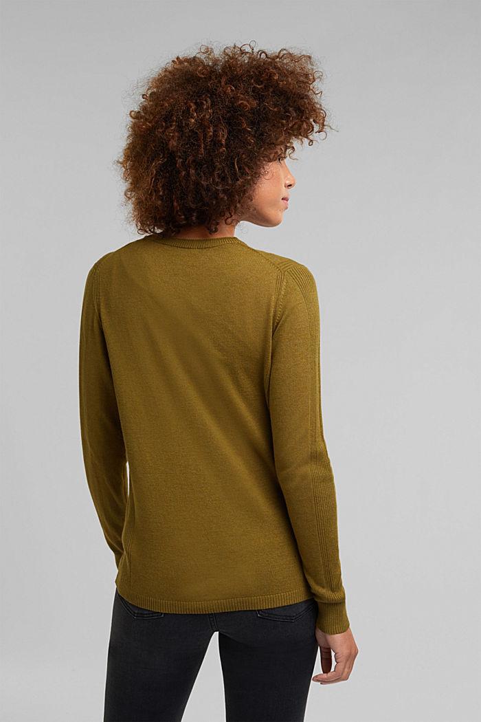 Basic V-neck cardigan with organic cotton, OLIVE, detail image number 3
